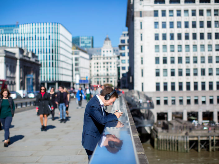 London Bridge scene by London based street photographer Nick Turpin