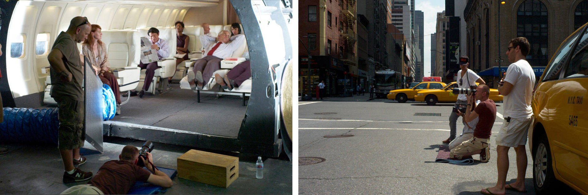 Shooting on an aircraft set in LA and a street scene in New York for above the line Advertising with models.