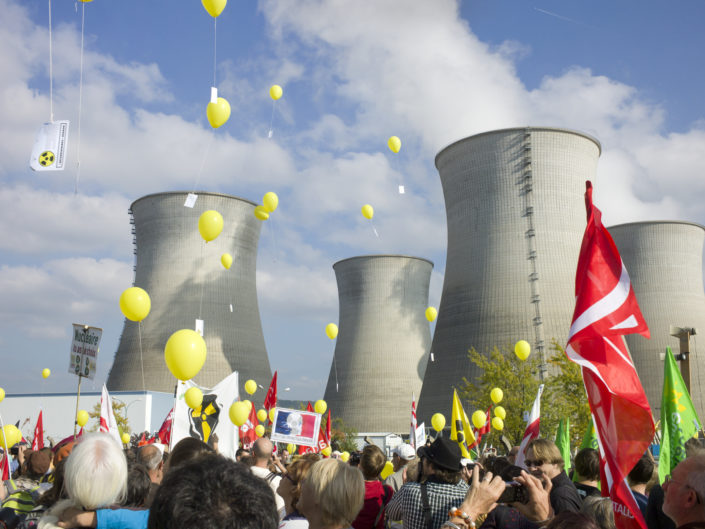 Anti Nuclear Protest, Bugey Nuclear Power Plant, Saint Vulvas, nr Amberieu, France.