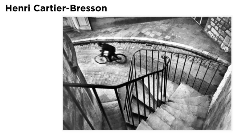 The notion of the Decisive Moment suggested by Henri Cartier-Bresson that has echoed through Street