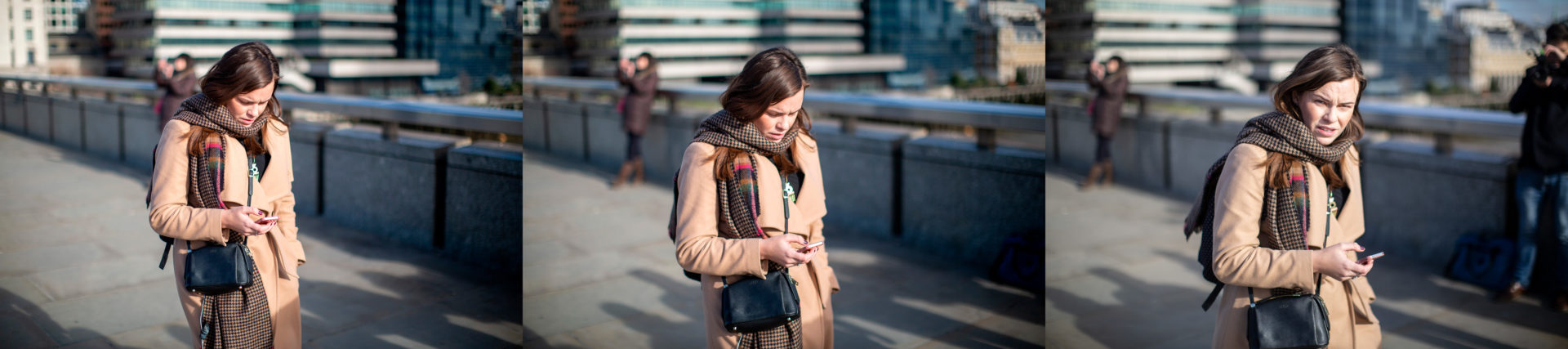 The relationship between the photographer and subject quickly change in this series of a passing woman on London Bridge.