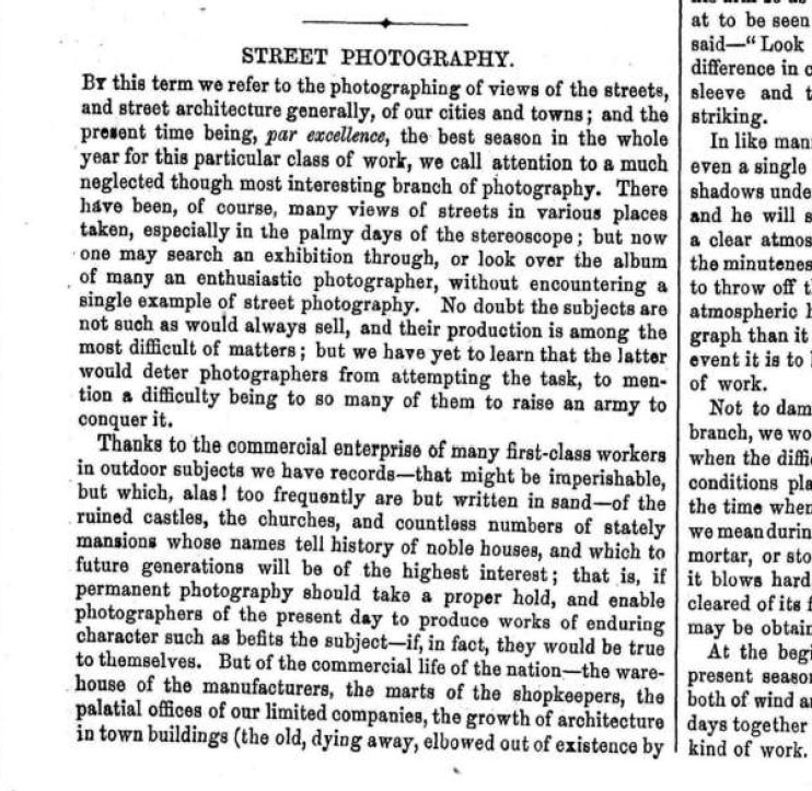 The earliest mention of Street Photography in The British Journal of Photography 1878