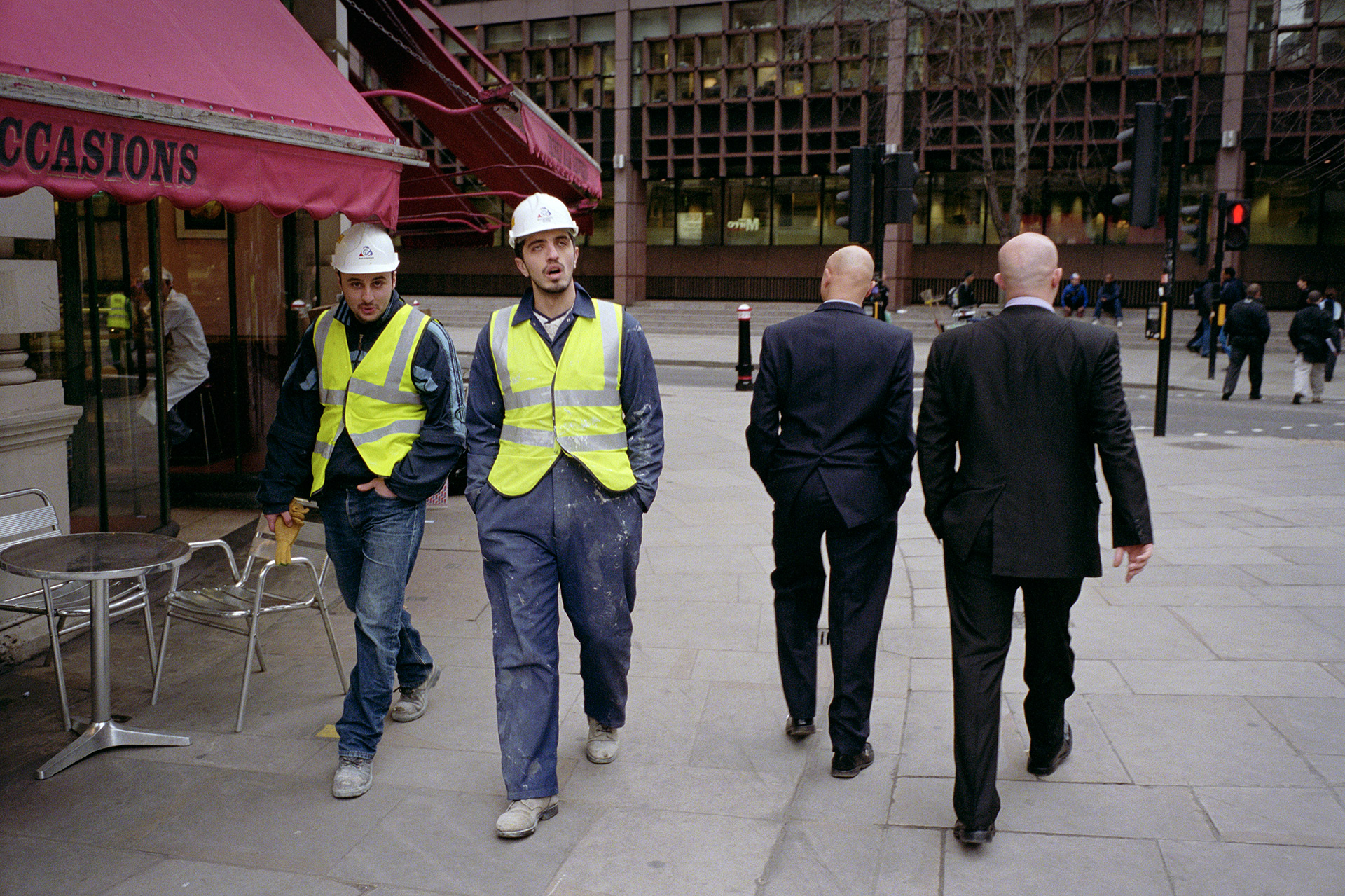Candid Street Photography Scene with construction workers and men is suits | Liverpool Street, London.