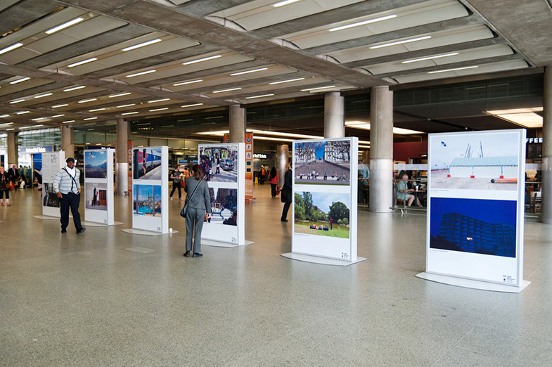 Nick Turpin exhibit of The French at London St Pancreas Station for The London Street Photography Festival 2011